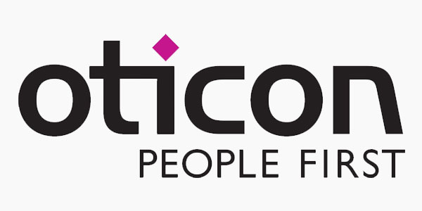 Oticon logo y lema People First audífonos sordos